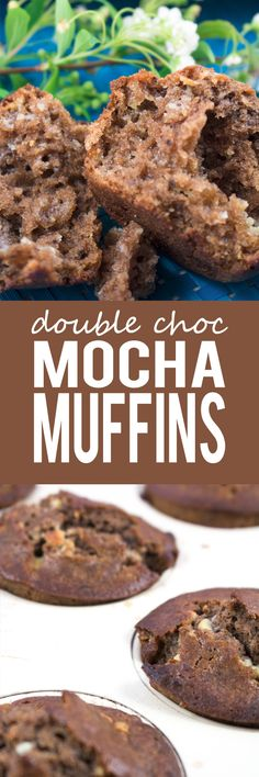 Double Chocolate Mocha Muffins - I love the superbly soft moist texture of this chocolaty mix that is swirled with small chunks of crushed white chocolate chips! No Bake Desserts, Just Desserts, Delicious Desserts, Yummy Food, Cupcake Recipes, Baking Recipes, Dessert Recipes, Yummy Recipes, Muffins
