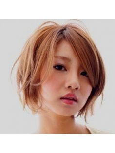 pretty asian face with light brown short hair