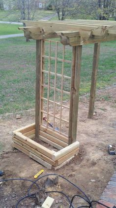 Trellis and garden box for the pergola swing, we were going to put Carolina Jessamine to grow over it but we are going to use that on the front porch and get something else to vine over the pergola swing