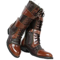 It is so hard finding neat mens steampunk footwear - Mens Italian Brown Patent Leather Goth Punk Cowboy Military High Boots SKU-1280074 - Not really sure if I'd wear these but they've got it all from a style standpoint. You never know though, I just might since their Italian lol