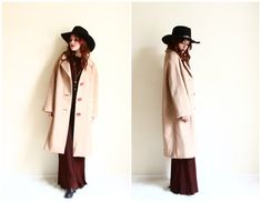 60s Coat  1960s Camel Wool Cocoon Coat  Big Button by YatesVintage