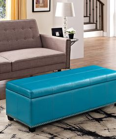 Look at this #zulilyfind! Simpli Home Blue Kingsley Leather Storage Ottoman by Simpli Home #zulilyfinds