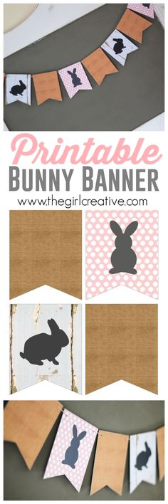 Free printable Bunny Banner for Easter. This is a cheap and super cute way to decorate your home for Easter.
