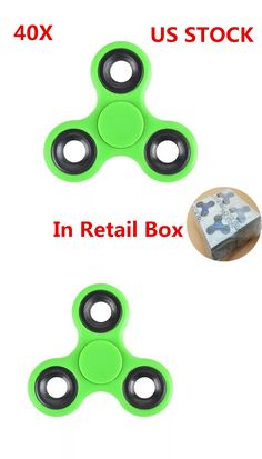 Other Wholesale Sporting Goods 26423: Wholesale 40Pcs Tri Hand Spinner Fidget Toy 608Rs Bearing Retail Box Green -> BUY IT NOW ONLY: $45.99 on eBay!