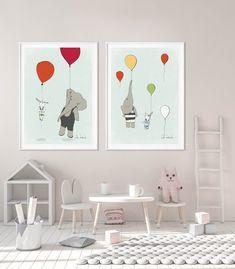 Baby animals nursery decor,Cute bunny,Elephant with balloon print,Nursery cute posters, Baby shower Childrens Room Decor, Playroom Decor, Kids Decor, Kids Room Wall Art, Nursery Wall Art, Nursery Decor, Nursery Ideas, Elephant Wall Art, Elephant Nursery