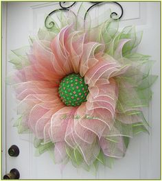Items similar to Deco Mesh Flower Wreath, Summer Wreath, Spring Wreath, Front Door Wreath, with Faux Green and Pink Gems in the Center by A Noble Touch on Etsy Deco Mesh Crafts, Wreath Crafts, Diy Wreath, Wreath Ideas, Easter Wreaths, Holiday Wreaths, Fabric Flowers, Paper Flowers, Teal Flowers