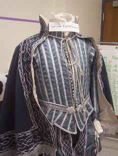 """1605-1610 German Gentleman of Nuremberg's suit. Doublet pattern from Janet Arnold's """"Patterns of Fashion 1560-1620"""". Rest of the patterns invented/modified from other sources. Costume 2008-09. Incomplete in a certain sense - along with many of the other costumes - I intend to add silver beads to the cloak, a pleated ruff and cuffs, half done. The matching gloves, hose and shoes are not shown."""
