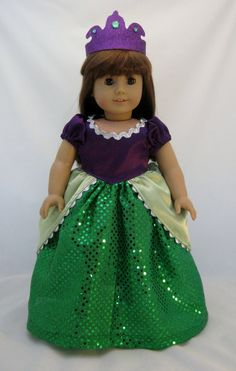 American Girl Sized Ariel Princess Gown and by enchanteddesigner. , via Etsy. Girl Doll Clothes, Doll Clothes Patterns, Girl Dolls, Ag Dolls, Boy Doll, Purple Satin, Disney Princess Outfits, Princess Clothes, Bodice
