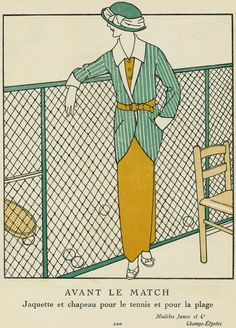 """""""Avant le Match,"""" advertisement from Gazette du Bon Ton, Jacket and hat for tennis 1920s Art Deco, Art Deco Period, Art Deco Fashion, Fashion Prints, Mode Vintage Illustration, Tennis Posters, Art Deco Stil, Theatre Costumes, Funky Art"""