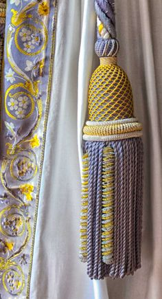 Curtain tassel at Versailles Window Coverings, Window Treatments, Textiles, Passementerie, Curtain Tie Backs, Window Dressings, Curtains With Blinds, Purple Yellow, Soft Furnishings