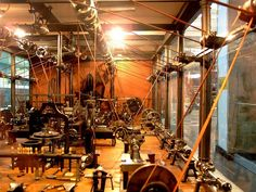 Victorian pulley powered machine shop. Not quite architecture, but appeals to me in the same way.