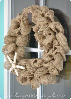 DIY Burlap Starfish Wreath