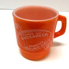 Vintage McDonalds Tampa Bay Buccaneer Champion Round Up Coffee Mug Milk Glass
