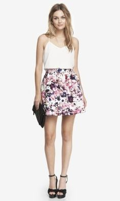 FLORAL PLAID HIGH WAIST FULL SKIRT from EXPRESS. Love the print of this skirt.