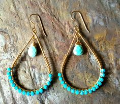 Gold filled hoop earrings with wire wrapped turquoise swarovski beads and turquoise gemstones