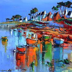 French Art Network | Lepape, Eric - LA COTE ROCHEUSE DE PLOUGUERNEAU - (80 x 80cm) - oil on linen painting.