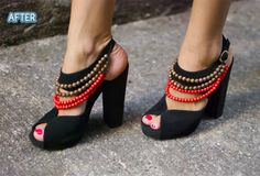 Take a pair of strappy, black suede, platform, open-toe heels and add four rows of beads to create a chic fresh summer look....make sure to paint your toenails!