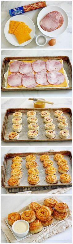 Ham and Cheese Pretzel Bites---- mmmm who needs Pillsbury. I can make my own pretzels