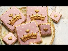 Pink and Gold Crown Cookies - Royal Baby Shower Collab http://www.sweetambs.com/