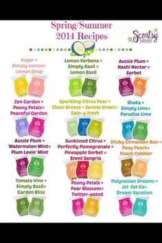 """Scentsy """"recipes""""! Want to try one? Contact me to purchase the bars you need and for all your Scentsy needs!"""