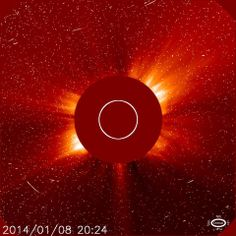 Added 01/09/2014 @ 00:00 UTC  Strong Radiation Storm. The strong S3 level radiation storm threshold was breached. Potential impacts are listed below. Attached image by the camera on board the SOHO spacecraft. ALERT: Proton Event 10MeV Integral Flux exceeded 1000pfu  Begin Time: 2014 Jan 08 2320 UTC  NOAA Scale: S3 - Strong  Potential Impacts: Radiation - Passengers and crew in high latitude, high altitude flights may experience increasing radiation exposures.