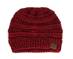 C.C. Exclusives Cable Knit Beanie in Burgundy Mix YJ800-BURG