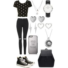 Silvery Black & White by stephanie-rozek-paris on Polyvore featuring polyvore, fashion, style, Glamorous, Topshop, Converse, Kate Spade, Zara, Daniel Wellington, Links of London, Edge Only, Kenneth Cole and Marc by Marc Jacobs