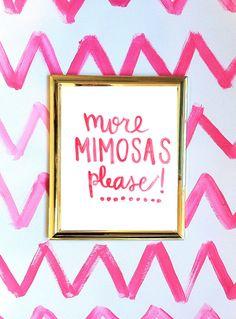 More Mimosas Please, 8.5 x 11 Bar Cart Print