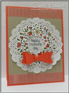 I forgot to post the second Mother's Day wreath card I did using Circle of Spring, this one was for my mother-in-law. I love how Watermelon Wonder looks with Crumb Cake…who knew? Here are the det