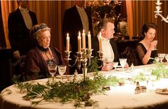 Dinner at Downton Abbey wouldn't be the same without great crystal glasses and candelabras.