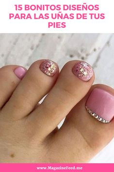 Pastel And Gold Toe Nail Art Idea ★ Keeping your toes immaculate. Gel Toe Nails, Feet Nails, Toe Nail Art, Bling Nail Art, Pretty Toe Nails, Cute Toe Nails, Cute Acrylic Nails, Toenail Art Designs, Acrylic Nail Designs
