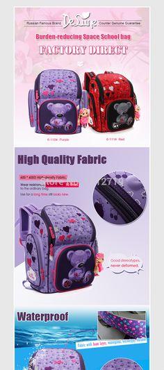 e9ce2cf0dc16 |DELUNE Детский мультфильм 3D Медведь Цветок гоночный автомобиль узор  Девочки Мальчики школьные сумки водостойкие складные ортопедические школьные  рюкзаки ...