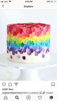Rainbow Cake by Sugar & Sparrow A spatula painted rainbow cake featuring buttercream colored with 16 different Americolor shades Pretty Cakes, Cute Cakes, Beautiful Cakes, Amazing Cakes, Cake Decorating Techniques, Cake Decorating Tips, Cookie Decorating, Gateau Aux Oreos, Buttercream Cake Decorating
