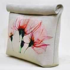Pink Floral Bloom Roll Up Canvas clutch