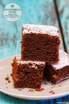 Gingerbread Cake made with 100% Whole Wheat and Coconut Oil
