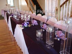 flowers in cylinders for centerpieces for the head table at the wedding   Silver Candelabra & 3-Piece Acrylic Candle Holder Sets