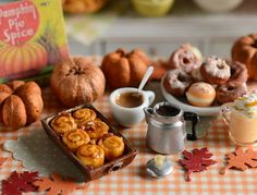 Miniature Caramel Pecan Sticky Rolls and Coffee by CuteinMiniature
