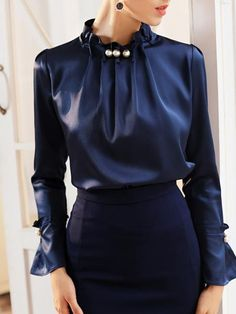 Buy Elegant Blouses For Women from 1453 at Peonyva. Online Shopping Peonyva Long Sleeve 1 Dark Blue Women Blouses Polyester Stand Collar Elegant Elegant Date Beaded Blouses, The Best Date Blouses. Elegant Dresses For Women, Dresses For Work, Sexy Dresses, Formal Dresses, Summer Dresses, Wedding Dresses, Pretty Dresses, Casual Dresses, Fall Dresses