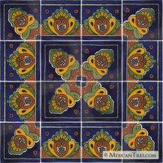 Blue Shell 16 Tiles - Mexican Talavera Decorative Tile Sets
