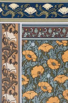 Poppies wallpaper, by Eugene Grasset (1845-1917) from Plants and Their Applications to Ornament. Chromo-lithograph. London, England, 1897.