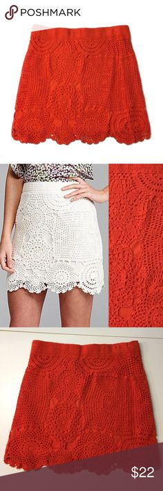 🆕 crochet Gianni Bini shay skirt boho casual 🆕 crochet Gianni Bini shay skirt boho casual     SIZE M  New, unworn condition; tags attached.   Photo two is to show fit and is not the color you will receive. Color name is tomato and (in my opinion) a red orange.   Polyester underlayer with a cotton crochet outer.   Waist 31 length 17 Gianni Bini Skirts