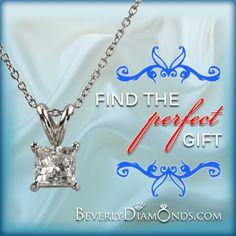 1 Carat Princess Diamond Pendant Necklace SI F Diamond Pendant Necklace, 1 Carat, Posts, Princess, Silver, Jewelry, Messages, Jewels, Schmuck