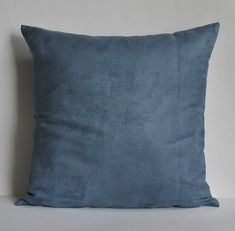 Blue Suede Pillow Cover Decorative Throw by TheDecorativePillow