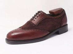 Calf & suede leather handmade brogue oxford shoes