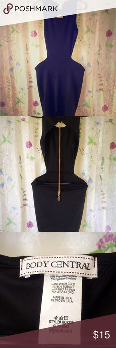 Women's Black Body Central Evening/Club Dress NWT Show off your beautiful skin in this sexy black dress. Major cut outs on back and sides. Perfect for dressing up for that sexy someone, or getting ready for that interesting night ahead lol. Complete with long gold body chain draped down your back. If you have any questions or requests don't hesitate to contact me! Body Central Dresses Backless
