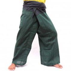 Pantalones de Thai mix de algodón negro verde-