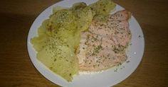 Fabulosa receta para Salmon con patatas al microondas.