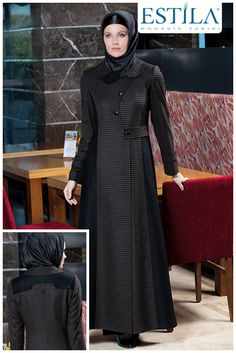 Estila 2014 Sonbahar Kış Koleksiyonu modelleri... Hijab Gown, Hijab Dress Party, Abaya Fashion, Muslim Fashion, Fashion Outfits, Modele Hijab, Abaya Designs, Turkish Fashion, Latest African Fashion Dresses