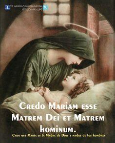 """Llamada en los evangelios """"la Madre de Jesús"""" (Jn 2, 1; 19, 25), María es aclamada bajo el impulso del Espíritu como """"la madre de mi Señor"""" desde antes del nacimiento de su hijo (Lc 1, 43). En efecto, aquél que ella concibió como hombre, por obra del Espíritu Santo, y que se ha hecho verdaderamente su Hijo según la carne, no es otro que el Hijo eterno del Padre, la segunda persona de la Santísima Trinidad. La Iglesia confiesa que María es verdaderamente Madre de Dios [""""Theotokos""""]."""