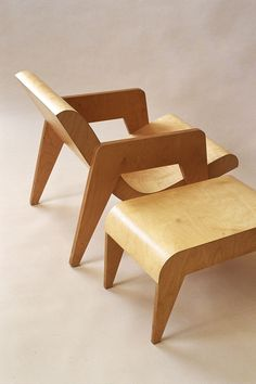 Ernö Goldfinger plywood armchair and a side table/foot stool. Originally designed in 1937